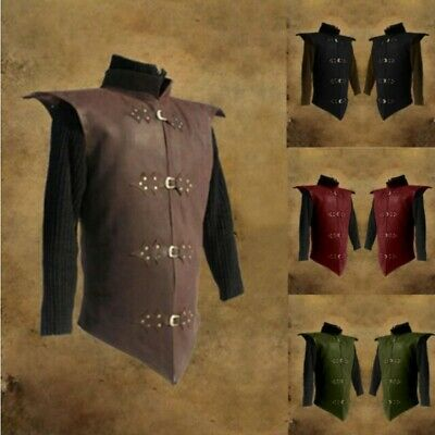Warrior Knight Costume Medieval Leather Armor Stand Collar Leather Vest Tops