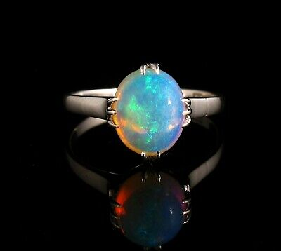 VINTAGE ESTATE FINE NATURAL 3.0ct AUSTRALIAN CRYSTAL OPAL SOLID 14K GOLD RING