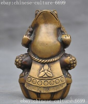 "5""old chinese classical bronze Feng shui wealth ingot gold toad bufo frog statue"