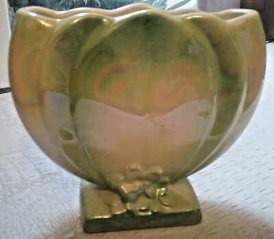 Vintage Collectable Australian Pottery Green  Lustre Ware Art Deco  Vase