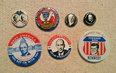 7 Political Presidential BUTTON PINS, Democratic Candidates, 1980 Reproductions