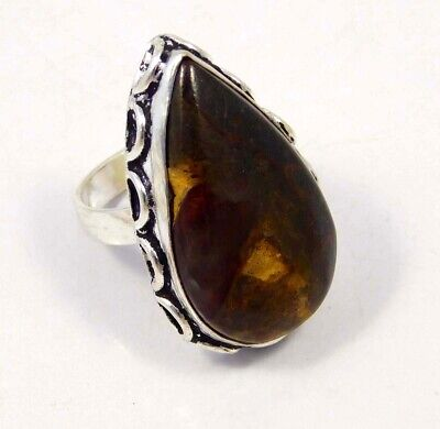 Rock Calcy .925 Silver Plated Handmade Ring Size-8.75 Jewelry JC4383