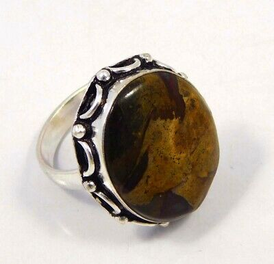 Rock Calcy .925 Silver Plated Handmade Ring Size-8.75 Jewelry JC4386