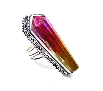 Multi Tourmaline Quartz .925 Silver Plated Carving Ring Size-6.50 Jewelry JC7227