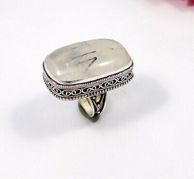 Black Needle Rutile .925 Silver Plated Carving Ring Size-8.50 Jewelry JC7541