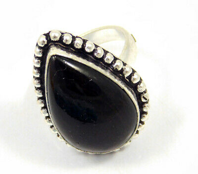 Balck Onyx .925 Silver Plated Handmade Ring Size-7.75 Jewelry JC4018