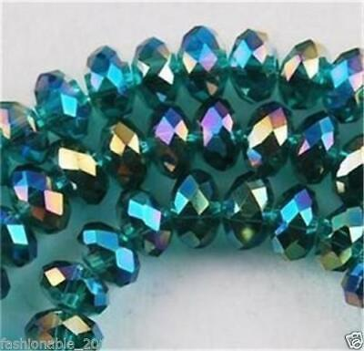 DIY Jewelry Faceted 98PC 4*6mm Peacock Green AB Rondelle glass Crystal Beads