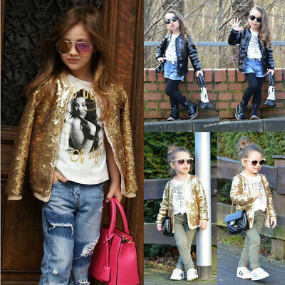 AU Baby Girl Clothes Toddler Kids Long Sleeve Coat Jacket Sequined Outwear Tops