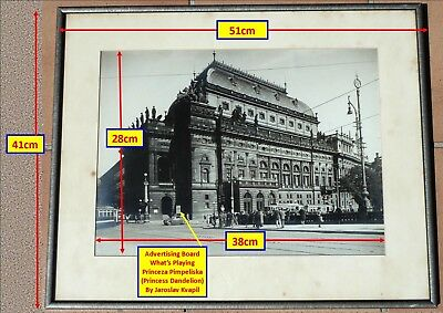 VINTAGE FRAMED PHOTOGRAPH NATIONAL THEATRE IN PRAGUE CIRCA 1920's/1930's...^