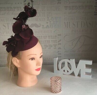 💗 Burgundy Wine Pillbox Fascinator Hat Orchid Flower Floral Races Wedding