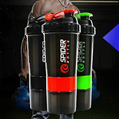 Sports Gym PROTEIN Shaker BOTTLE Cup 600ml 3 In 1 with Mixed Blender UK SELLER