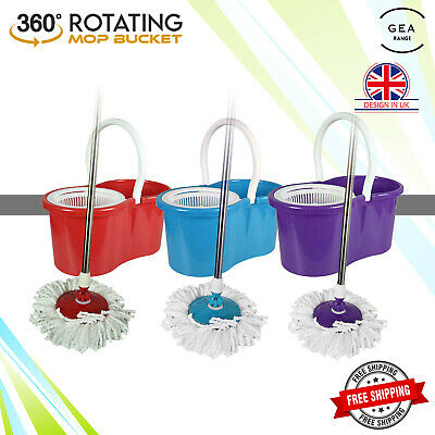 360° Rotating Spinning Mop Bucket with Adjustable Handle Microfibre Mop Heads