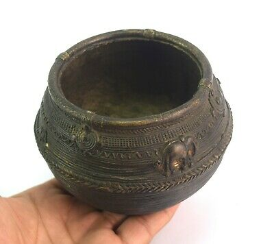 Antique Beautiful Carved Bronze Tribal Bowl Dhokra Art Collectible. G18-73 US