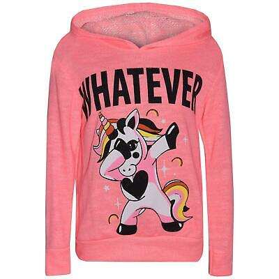Kids Girls Tracksuit Whatever Dabbing Unicorn Floss Neon Pink Hooded Top Bottom