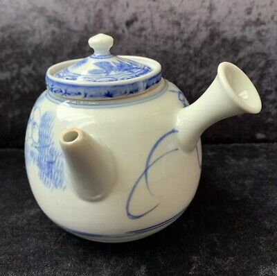Antique Japanese Blue & White Yokode Kyusu Side Handled Teapot With Strainer