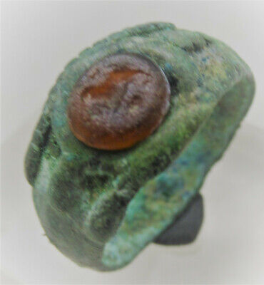 Ancient Roman Bronze Ring With Carnelian Intaglio Seal Lion Depiction Rare
