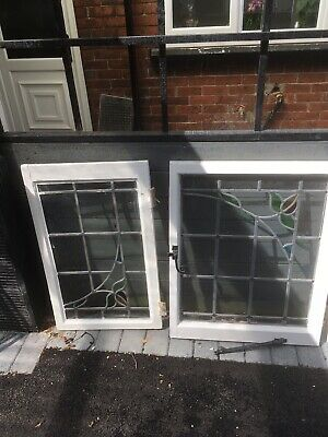 20 Assorted Stained Glass Windows 1930/40's. 10 In Their Casements.