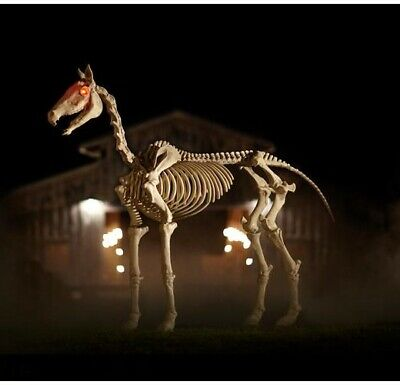 Halloween Props Life Size Decor 6 Ft Horse Skeleton Lighted Eyes Sounds Lights