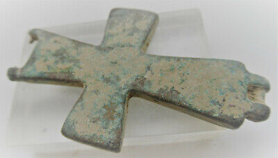 Ancient Byzantine Bronze Encolopion Cross Part From Double Sided Cross 700Ad