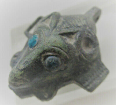 Very Rare Ancient Egyptian Bronze Pendant Sehkmet Head Stones As Eyes 600Bce