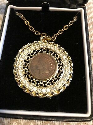 Vintage Indian Head Penny 1905 Medallian Necklace with crystal accents!!!!!