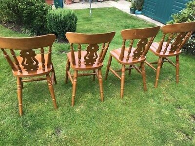 Set of 4 solid wood Farmhouse Fiddleback Dining Chairs (antique pine finish)