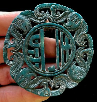 "Carved Ancient Stone Pendant   2.75"" Turquoise Scarf or Belt Slide Buckle ~Rare~"