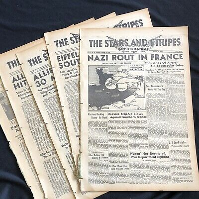 5 1944 WW II newspapers PARIS FRANCE LIBERATED by ALLIES Nazis Flee Toulon