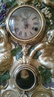 Antique Cherub Cast Iron Clock F Kroeber 1860s Working