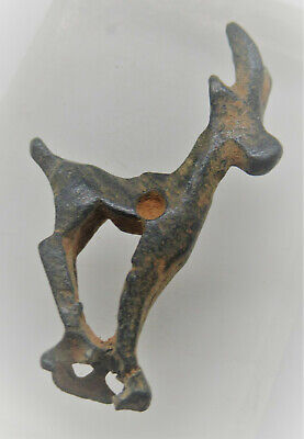 Circa 1000Bce Ancient Luristan Bronze Ram Pendant Rare Wearable Artefact
