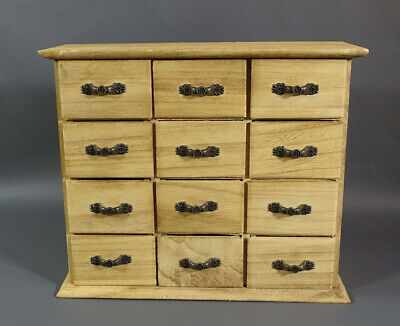 Vintage Wooden Chest Cabinet 12 Drawer Watchmaker Jeweler Tool Parts Jewelry Box