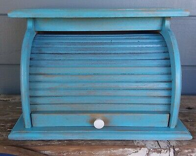 Vintage wood rolling door bread box shabby blue distressed paint