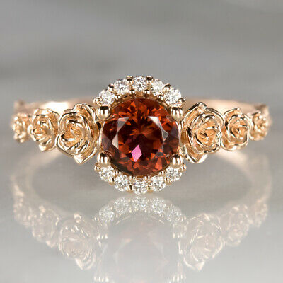 Floral Natural Diamond Red Tourmaline Ring 14K Rose Gold Flower Rustic Botanical