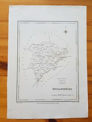 19th Century Engraving Map Of Rutlandshire  Lewis Topographical Dictionary