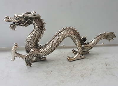 Chinese Miao silver handmade auspicious dragon town curtilage statue