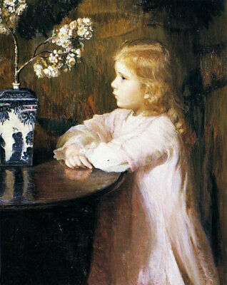 LMOP902 The little girl scratched on the table&flower art oil painting on canvas