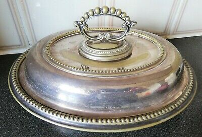 Signed EPNS Vintage Oval Plate With Lid/Cover-Handle Rotatable.L-29x21cm,W-1.1kg