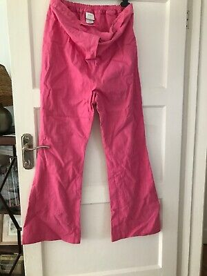 BNWT Next Pink Coral Maternity Trousers UK Size 12 Adjustable Waist Cotton