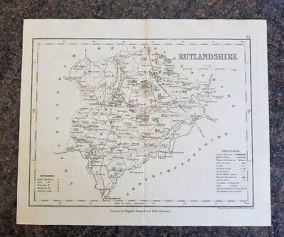 19th Century Engraving Map Rutlandshire  DUGDALES