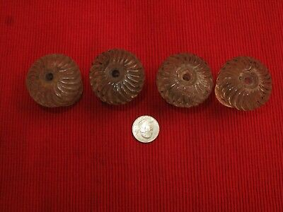 "Set Of 4 Antique Ribbed Glass Drawer Pull Knobs Vtg Victorian 19Th C 1 3/4"" D"