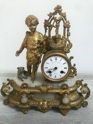 Decorative Antique French Gilded Clock  - Child & Lamb