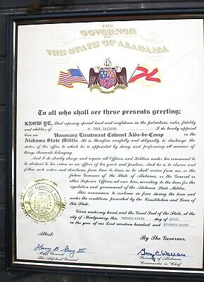 Alabama State Militia Appointment Certificate Signed By George Wallace