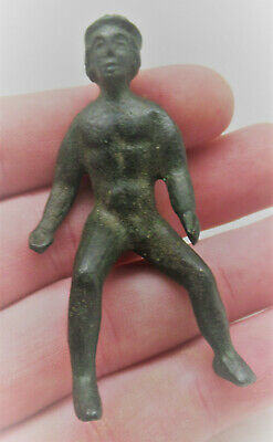 Museum Quality Ancient Roman Bronze Statuette Seated Baby Figurine 300Ad