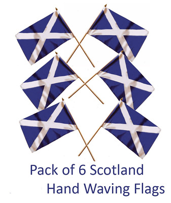 SCOTLAND SMALL HAND FLAGS - SIX pack of St. ANDREW'S CROSS SCOTTISH SALTIRE FLAG