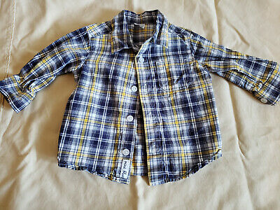 ~Great Condition Carter's Baby Boys Checkered Button Down Shirt Size 6 months~
