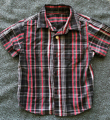 Black Red Plaid Stripe Baby Toddler Boys Shirt 2T 24 Months T-Shirt Button Up