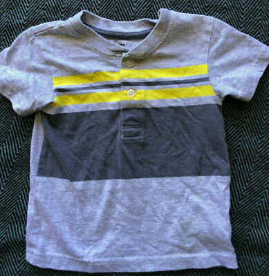 Gray Yellow Stripe Baby Toddler Boys Shirt 2T 24M 24 Months Henley Button-up