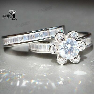 925 Silver Filled White Sapphire Birthstone Engagement Wedding Band Rings size 8