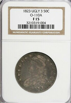 1823 Ugly 3 Capped Bust Half Dollar O-110A NGC F-15
