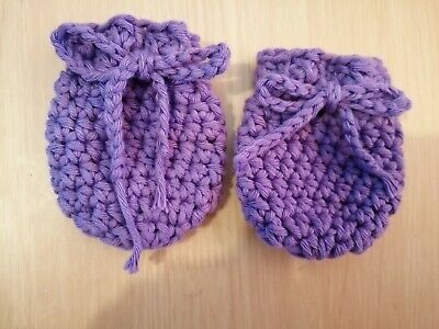100% Cotton Handmade Crochet Newborn Scratch Mitts purple